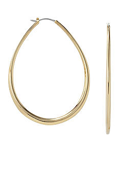 Fossil Large Gold Tube Hoop Earrings