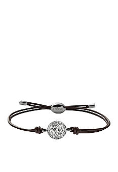 Fossil® Clear Crystal Pave Disk on Chocolate Brown Adjustable Leather Cording Bracelet