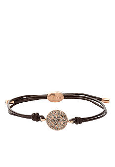 Fossil Rose Gold with Black Diamond Crystal Glitz on Chocolate Leather Wrist Wrap