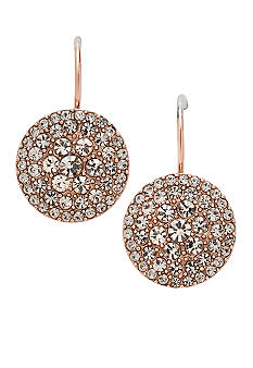 Fossil Pave Drop Disk Rose Gold Earrings