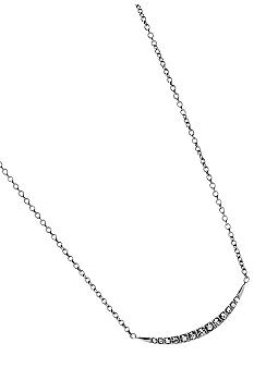 Fossil® Shiny Steel Crescent with Clear Crystal Pave Pendant