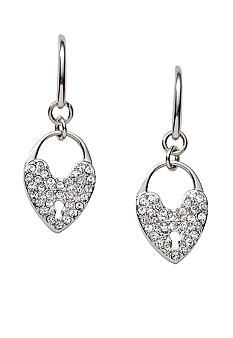 Fossil® Pave Glitz Heart Lock Drop Earrings