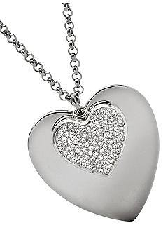 Fossil® Heart with Pave Heart Long Pendant Necklace