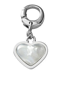 Fossil Mother of Pearl Charm Heart