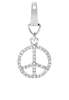 Fossil Peace Sign Charm with Clear Glitz