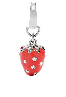 Fossil Red Enamel Strawberry Charm with Clear Crystal Glitz