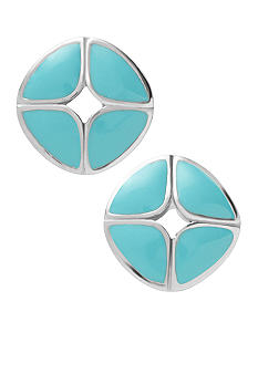 Fossil Polished Steel and Turquoise Stud Earrings