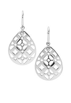 Fossil Tear Drop Earrings with Fossil Signature Cut Out Pattern on Shiny Silvertone