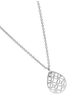 Fossil Tear Drop Silvertone Pendant with Fossil Signature Cut Out Pattern
