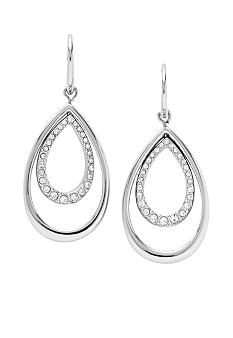 Fossil Shiny Stainless Steel Double Tear Drop Ear with Clear Glitz Accents