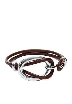 Fossil Steel Link with Leather Wrist Wrap