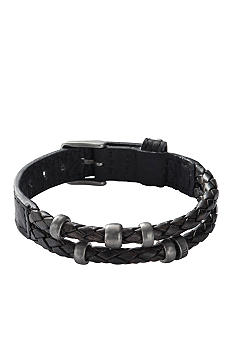 Fossil Men's Braided Leather Wrist Wrap