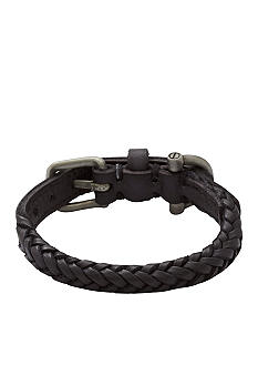 Fossil Men's Black Leather Bracelet