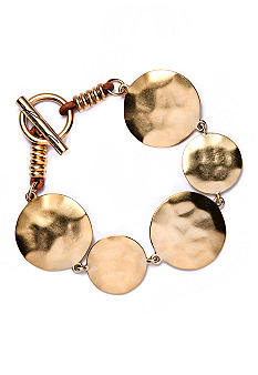 Kenneth Cole New York Gold-Tone Hammered Circle Disk Bracelet