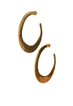 Kenneth Cole New York Gold Tone Hammered Hoop Earrings