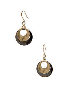 Kenneth Cole New York Gold & Hematite Two-Tone Layered Earrings