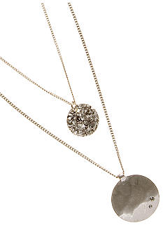 Kenneth Cole New York Silvertone Double Layered Pendant Necklace
