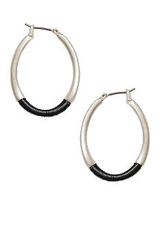 Kenneth Cole New York Warped Hoop Wrapped Silver Earring