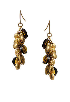 Kenneth Cole New York Smokey Topaz Gold Disc Cluster Linear Earring