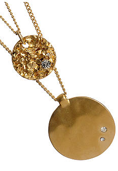 Kenneth Cole New York Two Row Gold Black Diamond Detail Disc Necklace