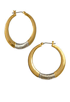 Kenneth Cole New York Gold Wire Wrapped Hoop Earrings