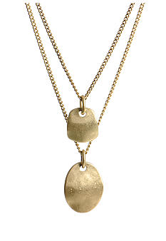 Gold Disc Two Row Necklace