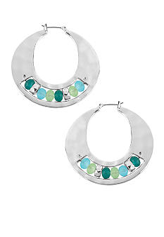 Kenneth Cole New York Faceted Bead Sculptural Hoop Earrings