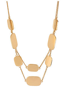 Kenneth Cole New York Rectangle Disc 2 Row Necklace