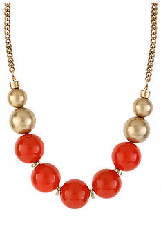 Kenneth Cole New York Coral & Gold Round Bead Frontal Necklace