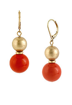 Kenneth Cole New York Coral & Gold Bead Double Drop Earrings