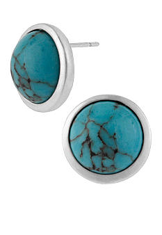 Kenneth Cole New York Semi Precious Turquoise Round Stud Earrings