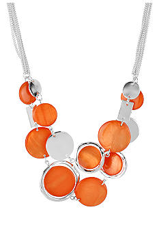 Kenneth Cole New York Coral Shell & Silver Circle 2 Row Necklace