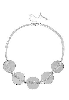 Kenneth Cole New York Silver Circle & Multi Chain Frontal Necklace