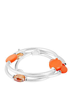 Kenneth Cole New York Coral Shell Circle & Silver Stretch Bracelet Set