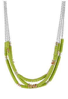 Kenneth Cole New York Lime Green Bead Multi Row Necklace