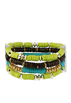 Kenneth Cole New York Lime Green & Brown Bead Multi Row Stretch Bracelet