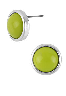 Kenneth Cole New York Lime Green Round Stud Earrings