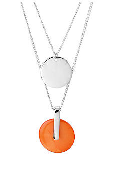 Kenneth Cole New York Coral Shell & Silver Circle Duo Pendant