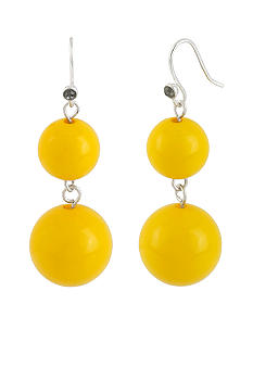 Kenneth Cole New York Yellow Double Bead Drop Earrings