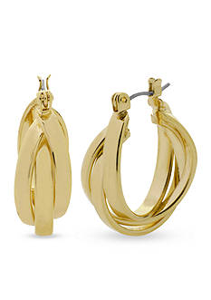 Kenneth Cole Gold-Tone Twisted Hoop Earring