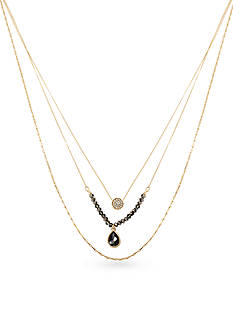 Kenneth Cole Pave Circle and Teardrop Crystal Three Row Necklace