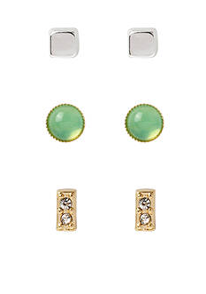 Kenneth Cole Green Bead and Pave Stud Earring Set
