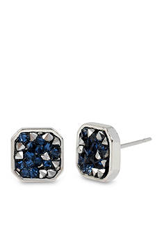 Kenneth Cole Silver-Tone Mixed Sprinkled Stone Silver Stud Earrings