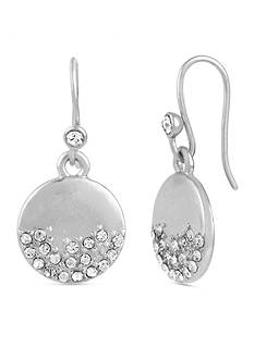 Kenneth Cole Silver-Tone Pave Circle Drop Earrings
