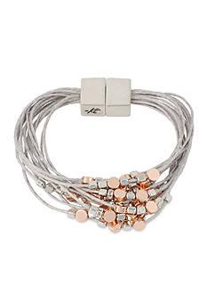 Kenneth Cole Two-Tone Bead Gray Multi Row Bracelet