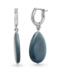 Kenneth Cole Silver-Tone Shell Stone Drop Hoop Earrings