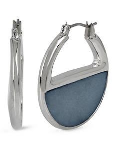 Kenneth Cole Silver-Tone Shell Hoop Earrings