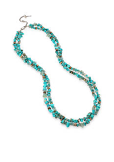 Kenneth Cole Silver-Tone Semiprecious Turquoise Chip Bead Multi Row Necklace