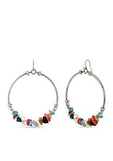 Kenneth Cole Silver-Tone Semiprecious Multicolor Gypsy Hoop Earring