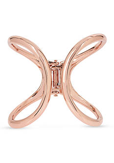 Kenneth Cole Rose Gold-Tone Sculptural Hinged Bangle Bracelet